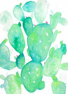 Teal Watercolour Cactus Art Print