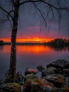 An autumn midnight - Asko Kuittinen - Suomalainen maisema,Finland Pictures To Paint, Nature Pictures, Cool Pictures, Beautiful Pictures, Beautiful Sunset, Beautiful World, Beautiful Places, Landscape Photography, Nature Photography