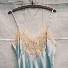 1930s Blue Silk Slip  size 40 by ironandhoneyvtg on Etsy