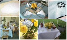 A blue and yellow coastal baby shower by HH Design House.  Order custom invitations, monogram napkins, tent cards, and menus at www.hayleyhardcastle.com or inquire with info@hhdesignhouse.com.