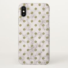 Cute White Marble Gold Polka Dots Pattern iPhone X Case - pattern sample design template diy cyo customize