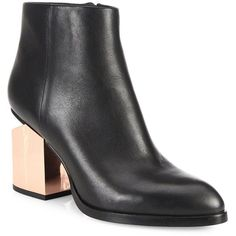Alexander Wang Gabi Metallic Block Heel Leather Booties ($775) ❤ liked on Polyvore featuring shoes, boots, ankle booties, apparel & accessories, black, leather bootie, leather booties, short leather boots, black ankle boots and black booties
