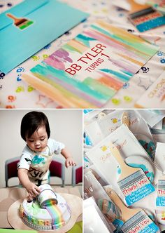 """""""Paint My World"""" Rainbow First Birthday {Pantone Inspired} // Hostess with the Mostess® Rainbow First Birthday, Art Birthday, Birthday Stuff, First Birthday Parties, Birthday Party Themes, First Birthdays, Birthday Ideas, Fun Party Themes, Party Ideas"""