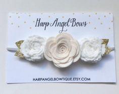 Aqua turquesa y blanco fieltro corona diadema por HarpAngelBoutique
