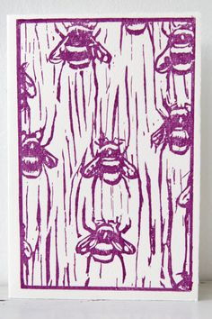 Items similar to Letterpress woodcut print card 'Bee' on Etsy Linoleum Block Printing, Bee Art, Insect Art, Bees Knees, Illustrations, Letterpress, Art Prints, Block Prints, Art Lessons
