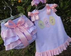 Easter Dress with matching Ruffle Bloomers and Boutique Hairbow included. $65.00, via Etsy.