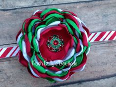 Love this one! Perfect Christmas Headband! Satin Singed Flower Headband Clip Bow Holiday by PoshDollysBoutique, $11.95