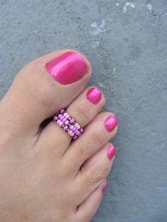 Toe Ring, Purple Passion Bead Stretchable Toe Ring.