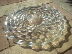 Indiana Glass Whitehall Three Footed Cake Plate.