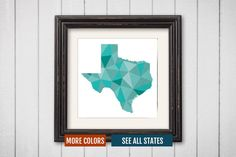Texas State Map Print - Personalized Geometric Wall Art TX Colorful Abstract Poster, Minimal, Unique and Customized Triangle Decor