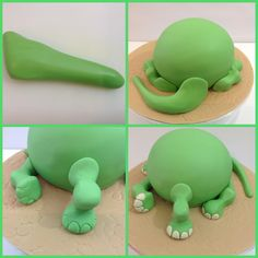 Roll out fondant into a large, tapered sausage shape to give your cake a realistic dinosaur tail