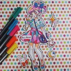 "Ropita inspirada en sailor moon ^•^) ""Painted with staedtler pen and bic marking"" #sailormoon #icecream #usagi #lunapelota #stars #traditional #staedtlerpens #bicmarking #instaanime #instadraw"