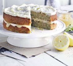 Frosted courgette (zuccini) & lemon cake... This is AMAZING and you cannot taste the courgettes... I even fooled a work colleague who hates all veg into loving this.. The courgettes make the cake very moist