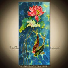 PAINTING on Silk ORIGINAL Fish and Pond  Series Size 18inX36in. $395.00, via Etsy.