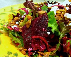 Husband Tested Recipes From Alice's Kitchen: Ruby Salad with Crumbled Feta and Spicy Pepitas (Pumpkin Seeds)