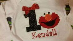 Girls 1st or 2nd Birthday black polka dot and red elmo onesie Shirt tank or romper Personalized with Name and Age by EverleeBoutique on Etsy