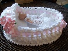 OOak Crochet Bassinet 6 and a half inch Cotton Candy Pink w/ crochet flowers by ginaska