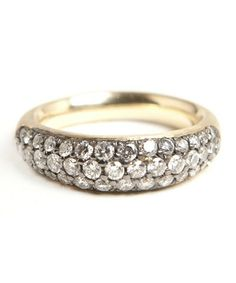 Kathryn Bentley Organic Oval Band with Diamond Pave