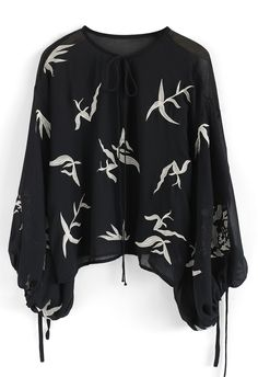 Sweetly Sway Leaves Embroidered Chiffon Top with Bubble Sleeves in Black