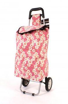 Pink Flower shopping trolley http://homewaregiftshop.co.uk/shopping-trolley-bag.html