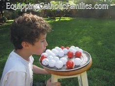 ping pong pizza pie- blow 6 coloured pin pong balls of pan with out blowing white balls off