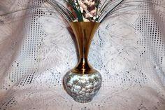 "Vintage ""Delft"" Brass & Porcelian Hand Painted Art Pottery Vase Holland"