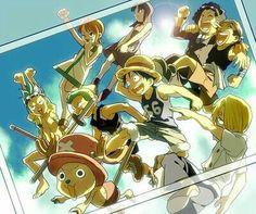 Straw Hat Crew, Mugiwara, Luffy, Sanji, Zoro, Chopper, Franky, Brook, Nami, Robin, Usopp, young, childhood; One Piece