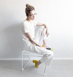 Get this look: http://lb.nu/look/8677677  More looks by Ebba Zingmark: http://lb.nu/ebbaz  Items in this look:  Ragdoll Top, Monki Pants, Sarenza Pumps, Ebba Zingmark Blog, Glasses Usa Glasses, Hay Chair   #casual