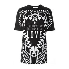 GIVENCHY 'I Believe in the Power of Love' T-Shirt ($655) ❤ liked on Polyvore featuring tops, t-shirts, black, long tops, cotton tee, short sleeve long tee, givenchy tee and long short sleeve t shirts