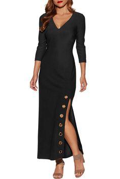 b61396a0b36b Malaven Women's Maxi Dress Grommet Side Slit Accent V Neck Quarter Sleeve  Evening