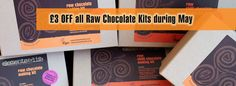 Save £3 on all our raw chocolate making kits this May. No codes, the discount is already applied