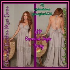 Heavenly Backless Maxi Dress Heavenly Backless Maxi Dress Semi sheer halter maxi dress. Unlined, features a triangle top, and neck and back ties with embellishment. Gorgeous lace detailing through dress skirt. Pair with sandals, wedges, or go barefoot on the beach. This dress is sure to make you feel like a summer goddess. Color : Dusty Lavender Dresses Maxi