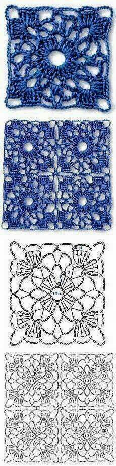 Transcendent Crochet a Solid Granny Square Ideas. Inconceivable Crochet a Solid Granny Square Ideas. Crochet Motifs, Crochet Blocks, Crochet Diagram, Crochet Chart, Crochet Squares, Love Crochet, Crochet Doilies, Crochet Flowers, Crochet Stitches
