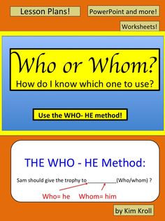 MUST BUY Who or Whom Lesson! How To Teach Grammar, Teaching Grammar, Anchor Charts, Teacher Resources, Language Arts, Slogan, Just In Case, Vocabulary, Middle School