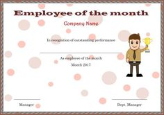graphic regarding Employee of the Month Printable Certificate identify 15 Perfect Worker of the thirty day period certificates illustrations or photos in just 2017