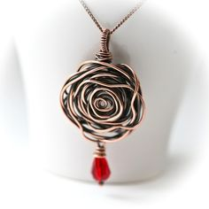 Copper Rose Wire Wrapped Pendant Necklace.