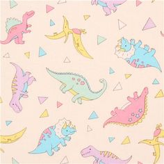 light cream fabric colorful dinosaur triangle from Japan 1