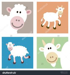 Smiley face happy goat and sheep illustrations in various cutouts. These farm animals are portrayed in various colors, full view and head close-up. Full vector illustrations.