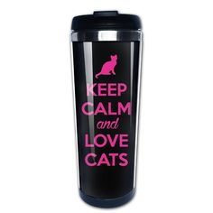 Keep Calm And Love Cats 2016 400 Ml Travel Mug * To view further, visit now : Cat mug