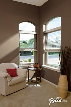 Create a beautiful view with a pella impervia fiberglass for Energy efficient bay windows