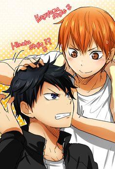 Haikyuu!! ~~ Exchanging hairstyles :: Kageyama and Hinata