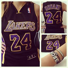Custom Lakers jersey with Swarovski crystals by GlamShackGirls, $85.00 I would die of happiness!!! :))