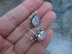 This listing is for beautiful moonstone earrings that you see in these photos. Total length is 3 cm or 1 2/8 inches. The stone has beautiful blue
