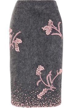 Prada | Embellished mohair-blend pencil skirt | NET-A-PORTER.COM