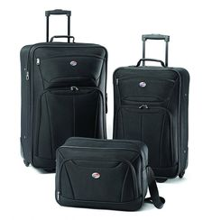 Buy American Tourister Luggage Fieldbrook II 3 Piece Set (One Size, Charcoal) Luggage Case, Luggage Sets, Best Travel Luggage, Travel Bag, Travel Gifts, Rockland Luggage, 3 Piece Luggage Set, Packing List For Cruise, Packing Checklist