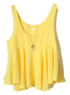 Chiffon Flounced Exposed Yellow Vest$38  All blouses are 20% off now, code: blouse20 !  http://www.udobuy.com/category-37-b0.html