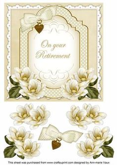 Cream Magnolia Retirement Fancy 7in Decoupage Topper on Craftsuprint - Add To Basket!