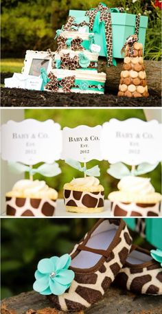 Giraffe and teal baby shower! If i ever have a little girl i want this :)