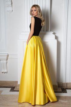 ef3ab96db66 Robe de cocktail noir et jaune en satin duchesse - Oksana Mukha Paris