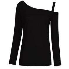 Sexy Solid Color Long Sleeve Off Shoulder T-shirt ($7.09) ❤ liked on Polyvore featuring tops, t-shirts, black long sleeve t shirt, off the shoulder tee, sexy long sleeve tops, print t shirts and black t shirt
